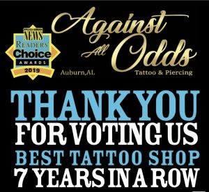 Voted Auburn's #1 Tattoo & Piercing Studio